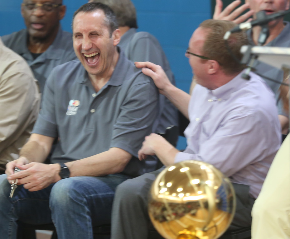 . Michael Allen Blair/MBlair@News-Herald.com Cavs\' head coach David Blatt and general manager David Griffin share a laugh during an NBA Cares event at the Boys & Girls Club of Cleveland\'s Broadway location June 10. The NBA and Cavaliers organization helped remodel a section of the club with a new Learn & Play Center.