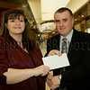 Cathy Morrison Development manager Young Enterprise NI recieves a donation from<br /> <br /> for the upcoming Young Enterprise NI annual Entrepreneurial Masterclass on the 29th November.