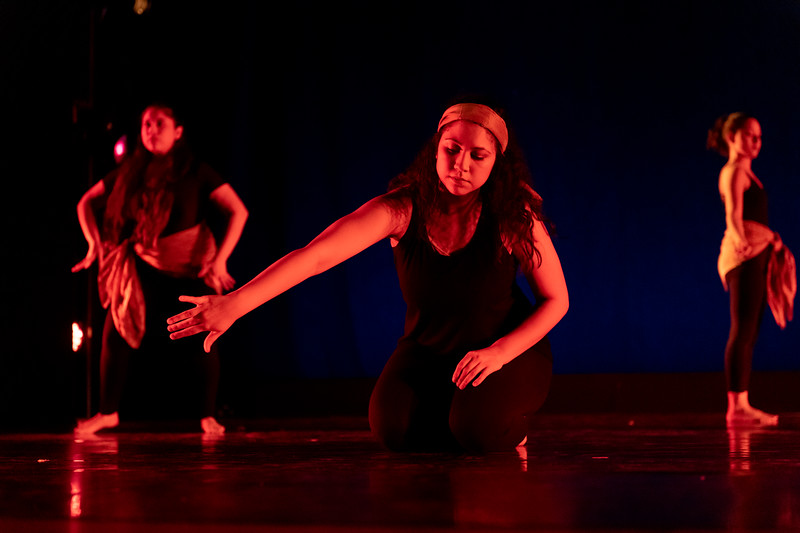 """""""Dancing Across Borders,"""" choreographed by Sarah Gonzalez, Christy Gorman, Andie Purdy, and student dancers, was performed by the World Dance & Culture class in the fall 2018 Island Dance Demo."""