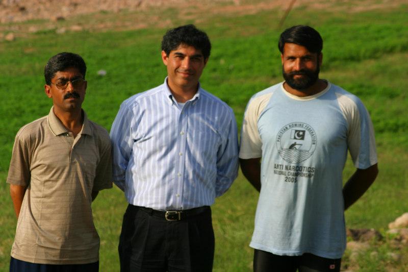 Aslam Hayat who coxes the eight, Ahsan Iqbal and Farasat Ali