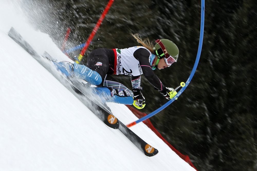Description of . Resi Stiegler of the USA competes during the Audi FIS Alpine Ski World Championships Women's Slalom on February 16, 2013 in Schladming, Austria. (Photo by Alexis Boichard/Agence Zoom/Getty Images)
