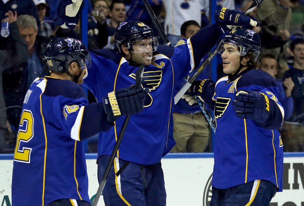 . St. Louis Blues\' David Backes, center, is congratulated by teammates Derek Roy, left, and T.J. Oshie after scoring during the second period of an NHL hockey game against the Colorado Avalanche Thursday, Nov. 14, 2013, in St. Louis. (AP Photo/Jeff Roberson)