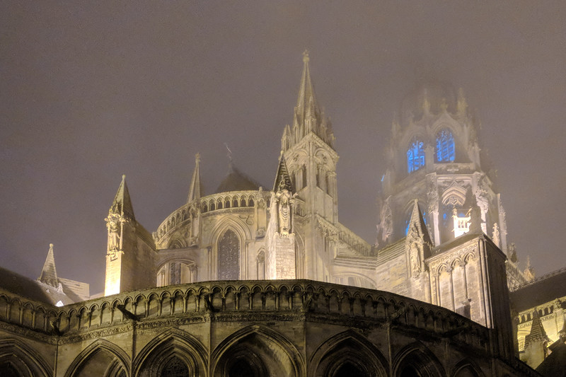 Bayeux Cathedral in fog