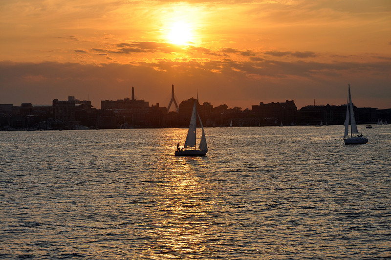 Sunset over the Boston skyline