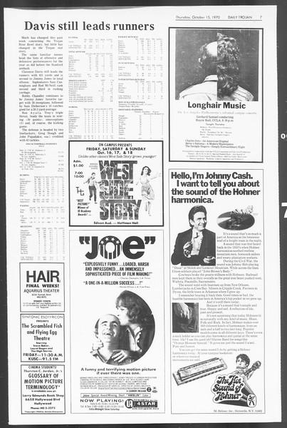 Daily Trojan, Vol. 62, No. 17, October 15, 1970