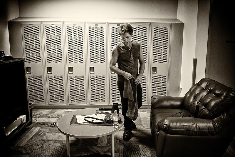 . October 20, 2013 - Jon Bon Jovi warms down in his dressing room after his band Bon Jovi\'s concert at Pinnacle Bank Arena in Lincoln, NE on October 20, 2013  (Photo credit: David Bergman / Bon Jovi)