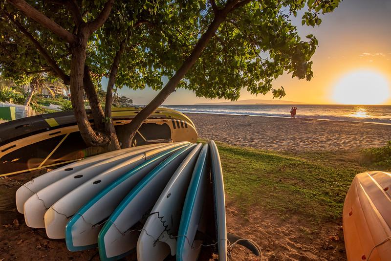 Sunset at the beach, South of Maui, Hawaii