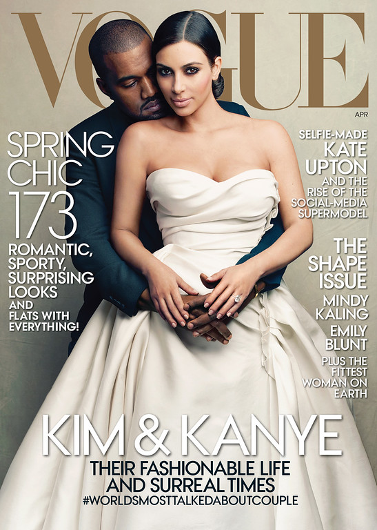 . This cover image taken by Annie Leibovitz for Vogue shows the April 2014 issue of the high fashion magazine featuring rapper Kanye West and TV personality Kim Kardashian. The April issue hits newsstands nationwide on March 31 and will be available on March 24 as a digital download for tablets. (AP Photo/Vogue, Annie Leibovitz)