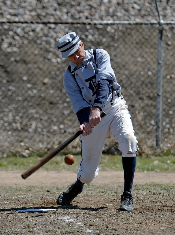 . DENVER, CO. - APRIL 14: Buckeye MItchell of the Denver Blue Stockings takes a big swing during a  vintage baseball game against the Central City Stars April 14, 2013 at  Riverside Cemetery in Denver. (Photo By John Leyba/The Denver Post)