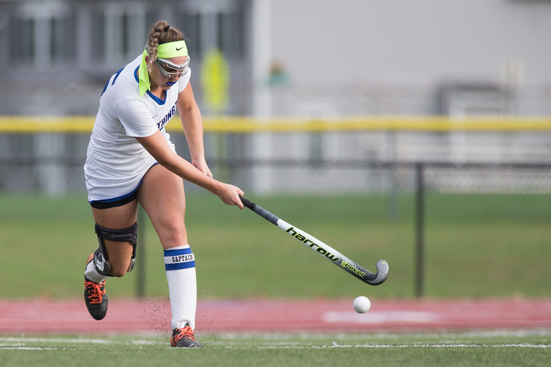 Southington's Molly Dobratz gets a shot off from a corner Monday during a qualifying round in Class L of the CIAC Tournament at Fontana Field in Southington November 6, 2017 | Justin Weekes / For the Record-Journal