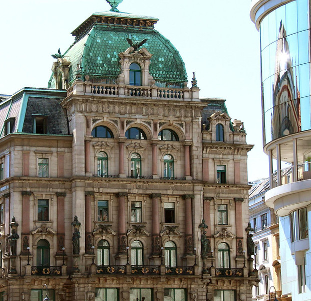 """The """"Palais Equitable"""" stands proud over the Stephenplatz in the heart of the city as old faces new in downtown Vienna. The U.S. company Equitable Life Insurance built it in 1887 as an inner city office with palace-like flair."""