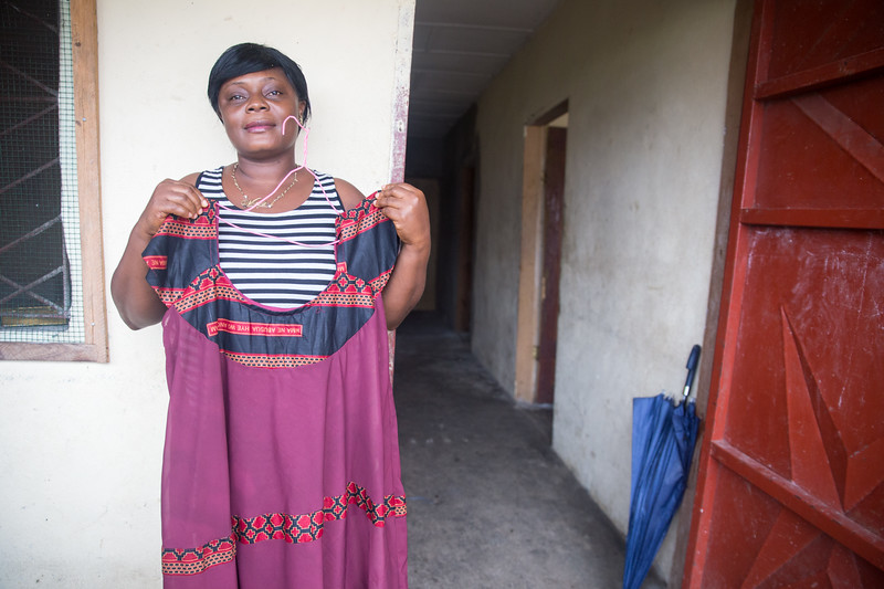 Monrovia, Liberia October 6, 2017 - Handmade dresses are made at the REVSLA Vocational School Skill Training Center.