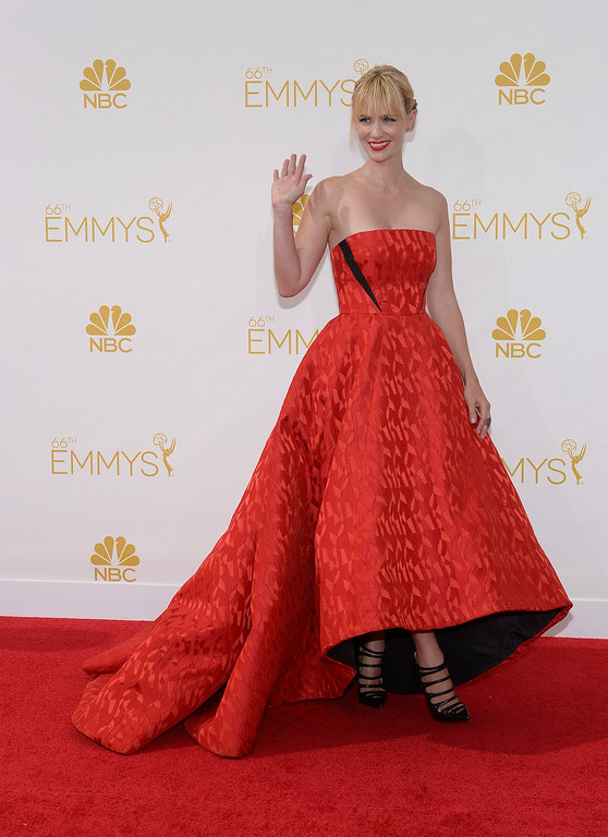 . January Jones on the red carpet at the 66th Primetime Emmy Awards show at the Nokia Theatre in Los Angeles, California on Monday August 25, 2014. (Photo by John McCoy / Los Angeles Daily News)