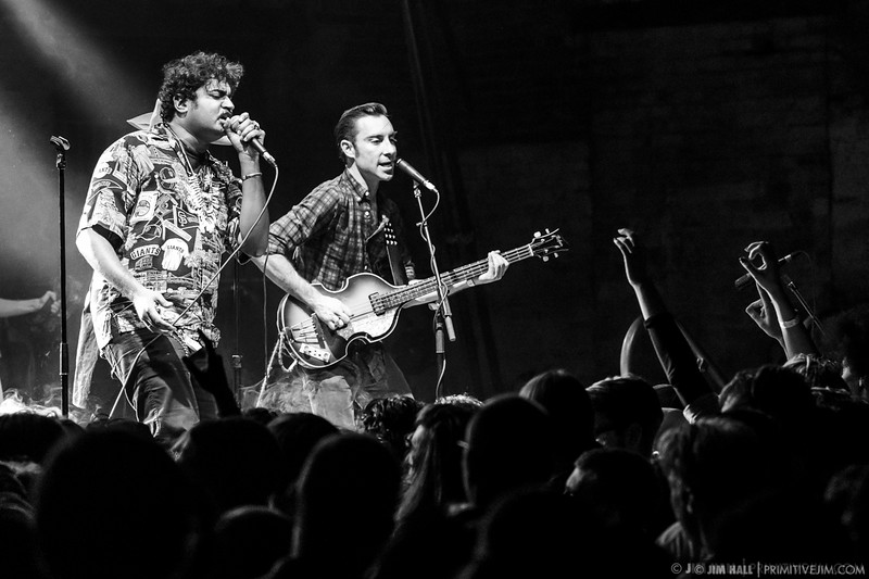 King Khan, Mark Sultan and The Black Lips combine on stage as The Almighty Defenders at The Goat Farm Art Center in Atlanta, Georgia on Saturday, Oct. 4, 2014