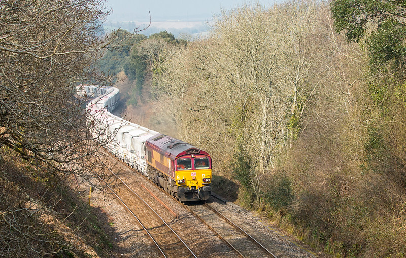 170315  66090 heads up to Milltown with the 6G07  13:20 Fowey-Goonbarrow (taken by the assistant)