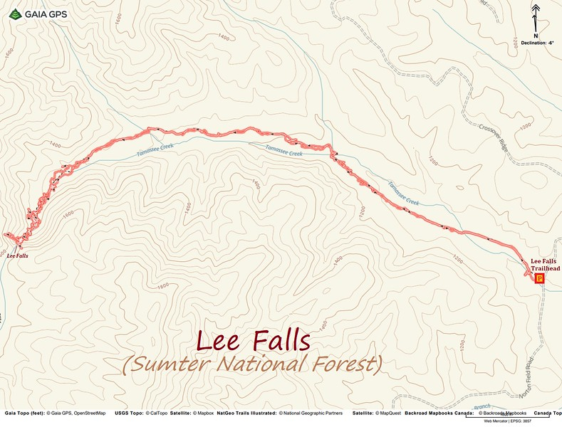 Lee Falls Hike Route Map