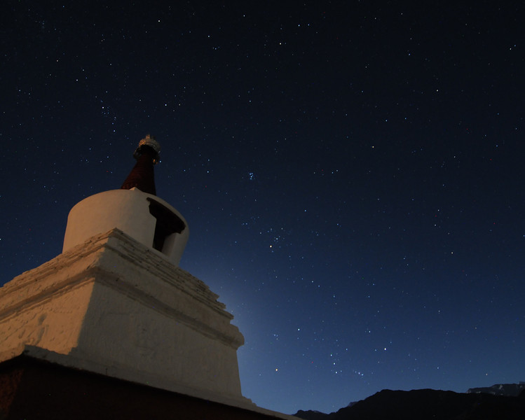 Stupa (Buddhist monument) at Thiksey Monastery (also called a gompa or gonpa).  Ladakh, India