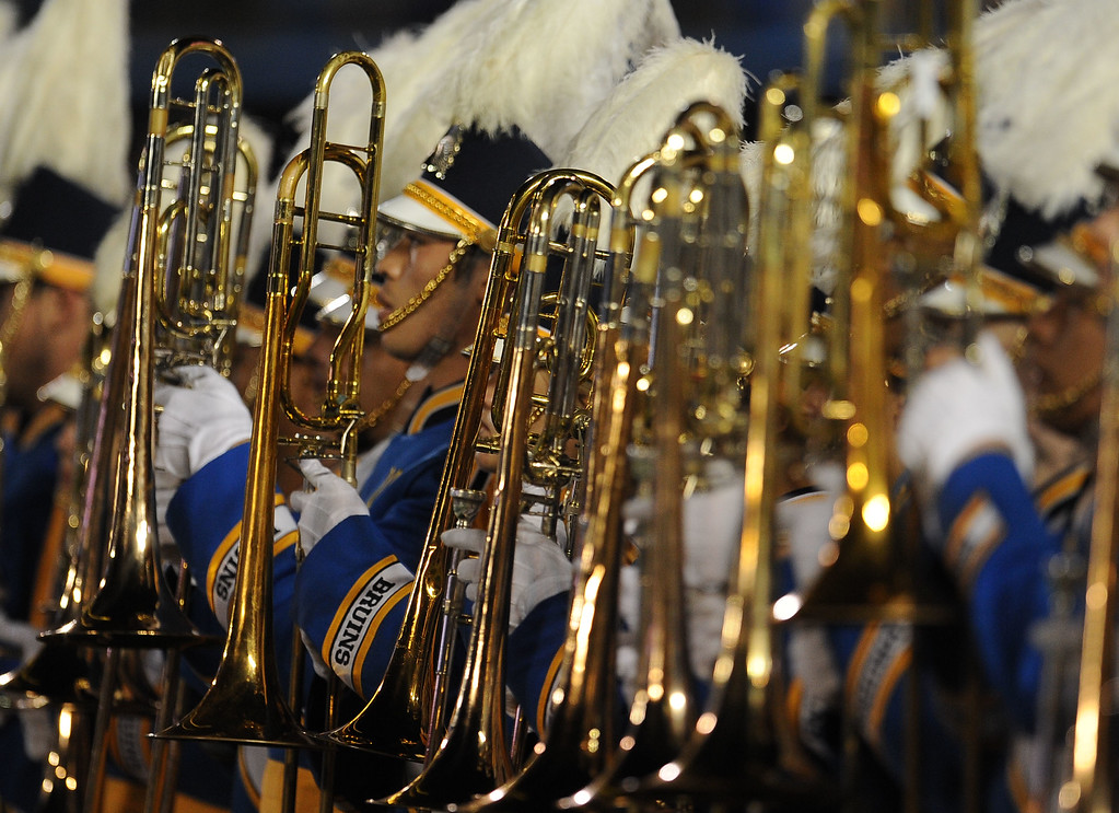 . The UCLA band performs prior to their college football game against California in the Rose Bowl in Pasadena, Calif., on Saturday, Oct. 12, 2013.   (Keith Birmingham Pasadena Star-News)