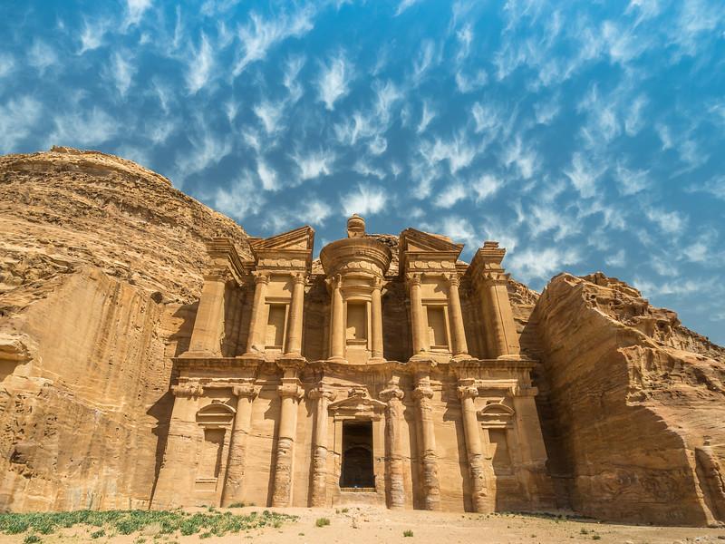 Brilliant Sky above the Monastery, Petra, Jordan
