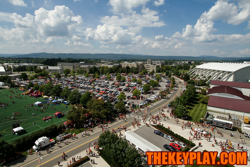 The view of the tailgating scene from the top of Lane a couple hours before kickoff.