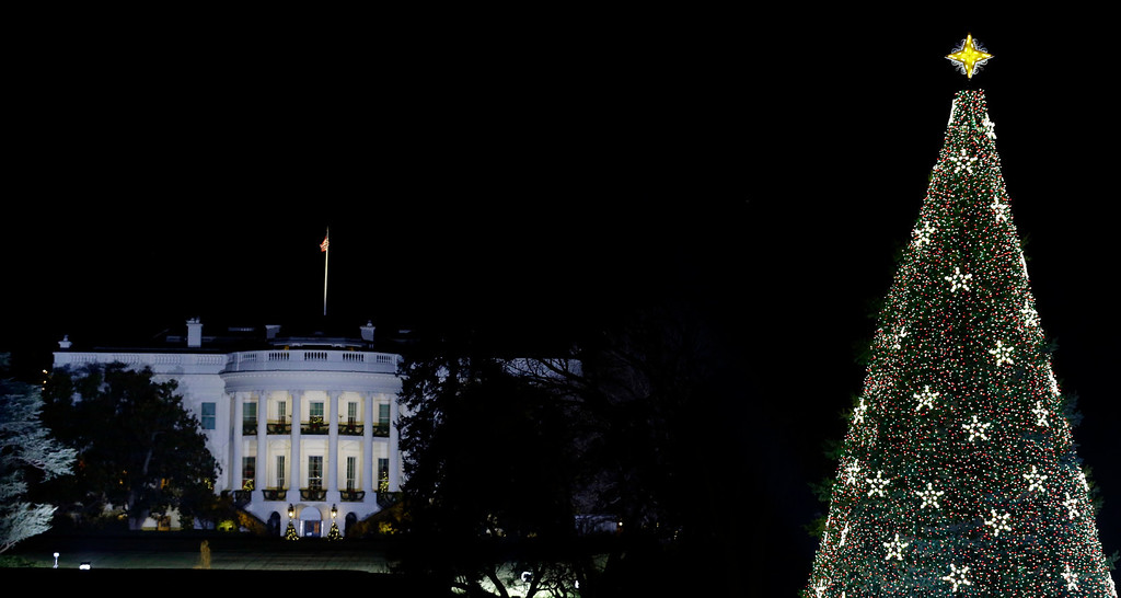 . With the White House in the background, the National Christmas Tree is lit during the lighting ceremony on the Ellipse, Thursday, Dec. 6, 2012 in Washington. (AP Photo/Alex Brandon)