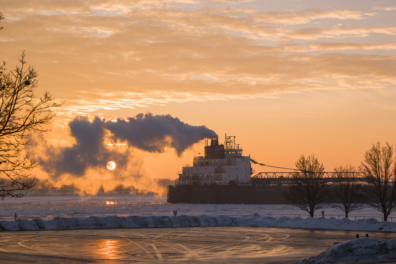 St Clair, MI Freighter At Sunrise