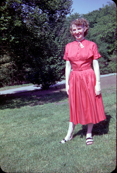 mommy in red dotted dress in central park.jpg