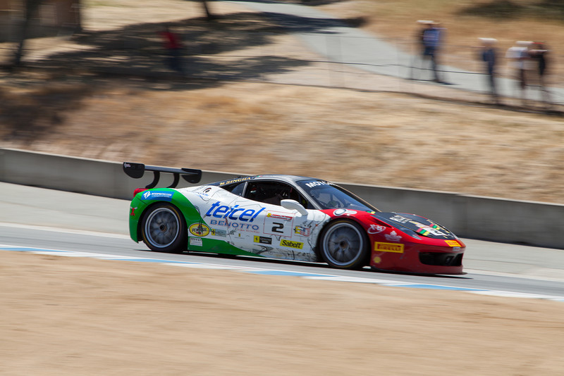 Ricardo Perez heads towards turn 9 in the #2 Ferrari 458 EVO. © 2014 Victor Varela