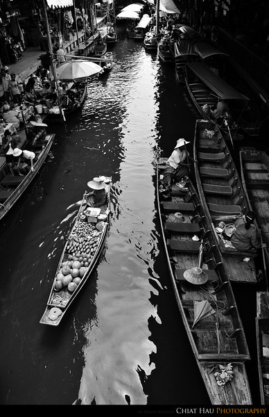 Top view of the floating market