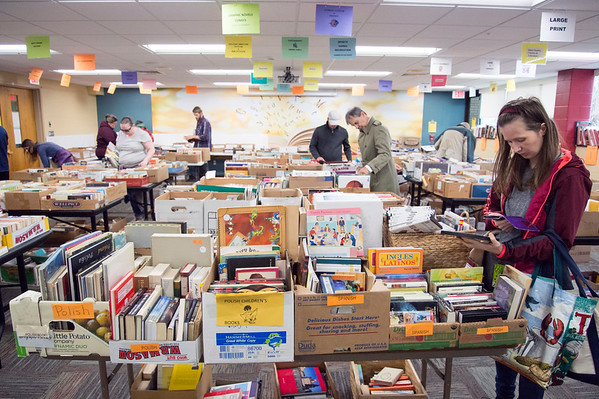 10/17/19 Wesley Bunnell | StaffrrThe New Britain Public Library hosted their fall book sale with an early sale offered on Thursday November 17, 2019 for a small admission fee. Shoppers are shown during early admission day.