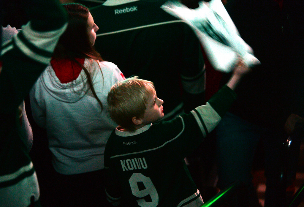 . A young Wild fan waves his playoff towel as his team takes the ice.  (Pioneer Press: Sherri LaRose-Chiglo)