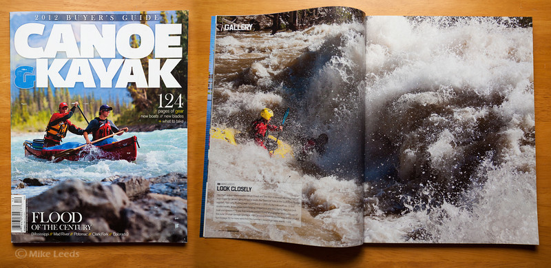 Micah Kneidl and Tyler Allyn Kayaking through Slalom Rapid on the S.F. Payette River, Idaho, in a Two Man Hardshell kayak during flood stage. Canoe & Kayak Magazine December 2011