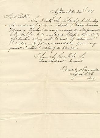 Teaching Job Application 1871