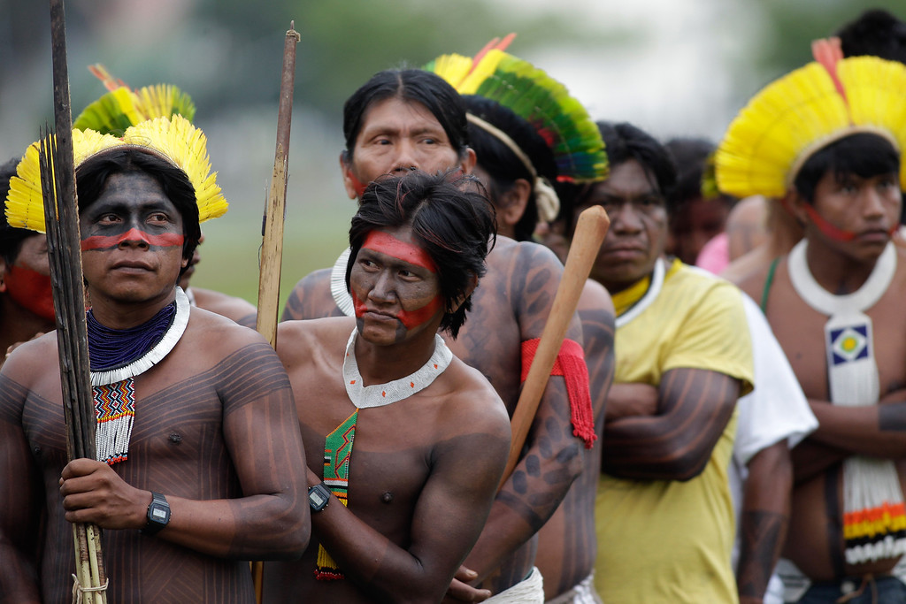 . Brazilian Indians representing various tribes takes part in the first day of the National Indigenous Mobilization protest in Brasilia, Brazil, Tuesday, Oct. 1, 2013. (AP Photo/Eraldo Peres)