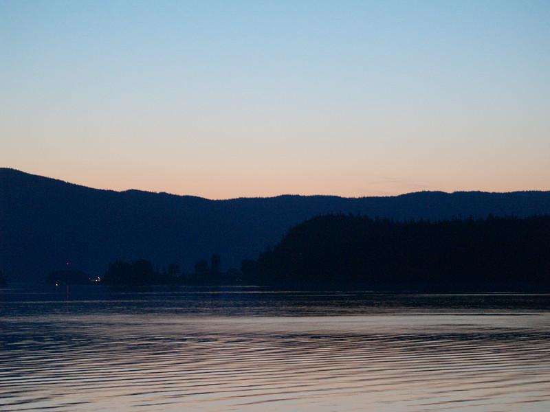 Setting sun over Fritz Cove