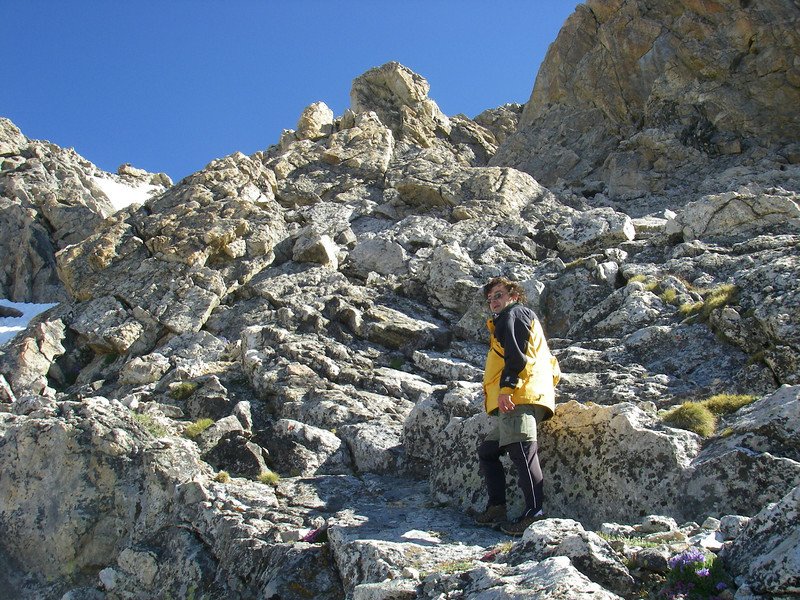 We summited Middle Teton (12,804ft = 3.902m) through SW coulior.