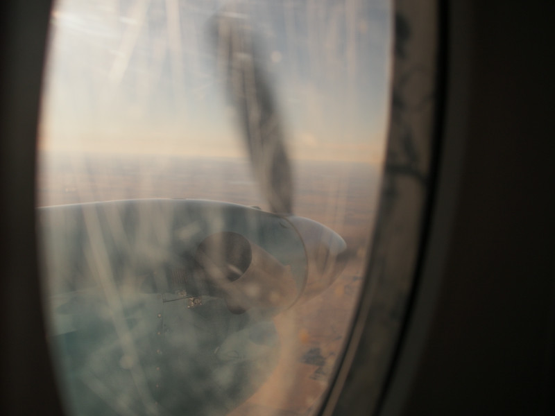 Oct. 18/13 - Propellers on the tiny plane - hope they don't come off!