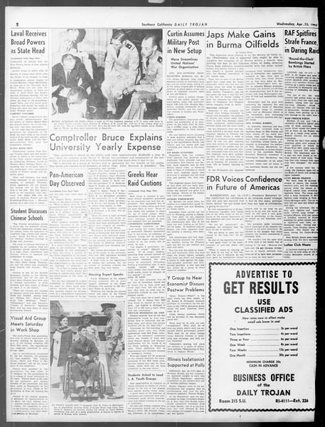 Daily Trojan, Vol. 33, No. 121, April 15, 1942