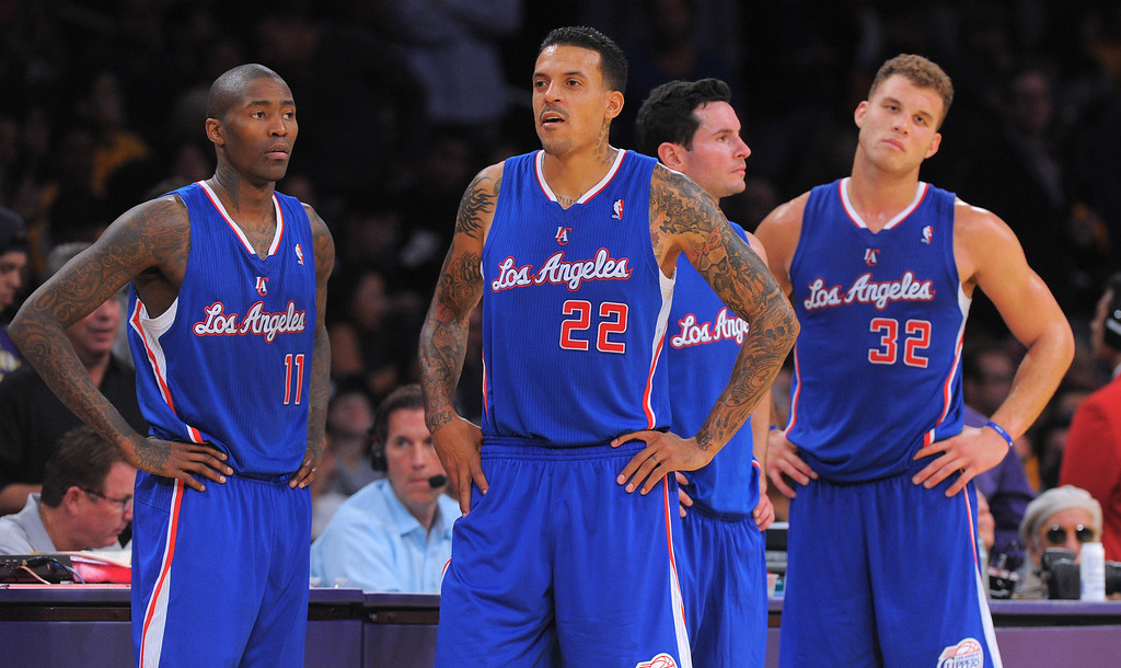 . clippers players, from left, Jamal Crawford, Matt Barnes, J.J. Redick and Blake Griffin come back onto the court following a timeout late in the 4th qtr in the NBA season opener between the Lakers and Clippers at Staples Center in Los Angeles, CA on Tuesday, October 29, 2013.  Lakers won 116-103. (Photo by Scott Varley, Daily Breeze)