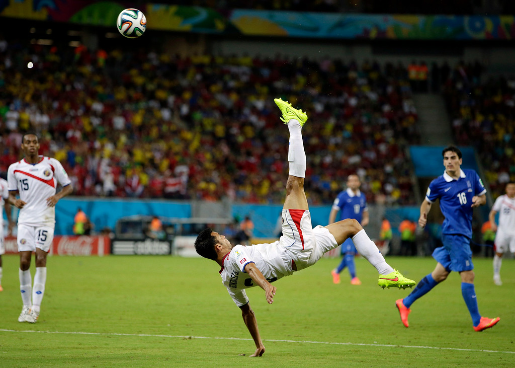 . Costa Rica\'s Giancarlo Gonzalez kicks the ball during the World Cup round of 16 soccer match between Costa Rica and Greece at the Arena Pernambuco in Recife, Brazil, Sunday, June 29, 2014. (AP Photo/Andrew Medichini)