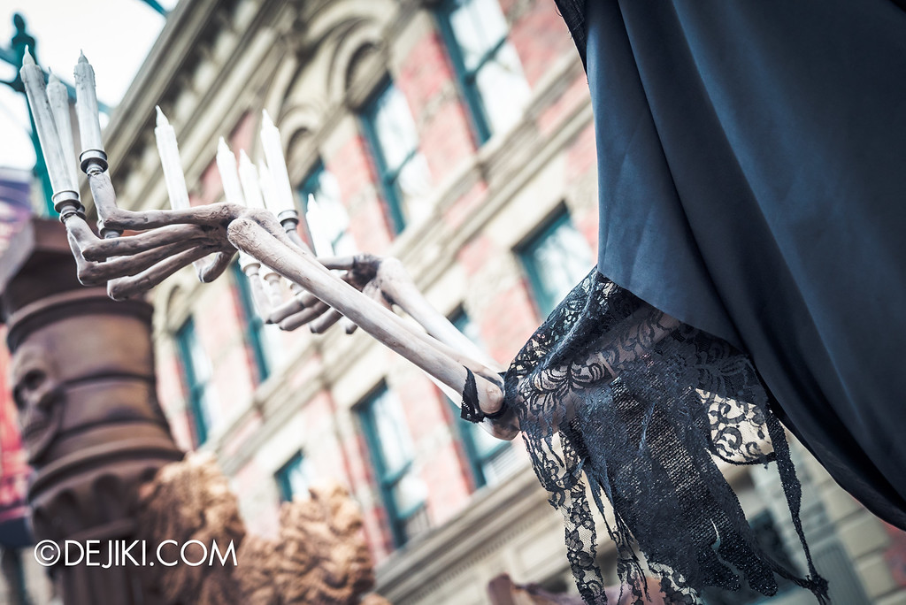 Universal Studios Singapore - Halloween Horror Nights 6 Before Dark Day Photo Report 2 - March of the Dead - skeleton candelabra black lace