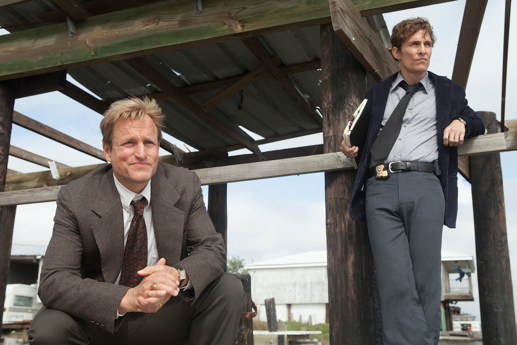 """. This image released by HBO shows Woody Harrelson, left, and Matthew McConaughey from the HBO series \""""True Detective.\"""" Both Harrelson and McConaughey were nominated for Emmy Awards for best actor in a drama series on Thursday, July 10, 2014, for their roles in the series. The 66th Primetime Emmy Awards will be presented Aug. 25 at the Nokia Theatre in Los Angeles. (AP Photo/HBO, Jim Bridges)"""