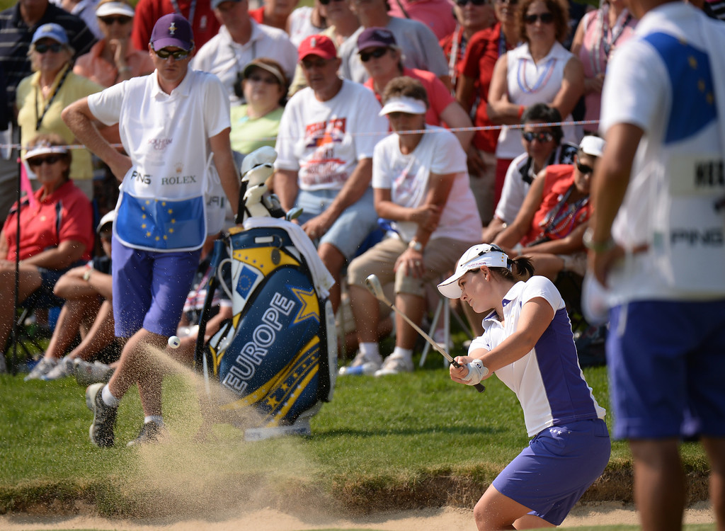 . PARKER, CO. - August 16: Caroline Masson of team Europe is aiming 9th hole from the bunker during 2013 Solheim Cup at Colorado Golf Club. Parker, Colorado. August 16, 2013. (Photo By Hyoung Chang/The Denver Post)