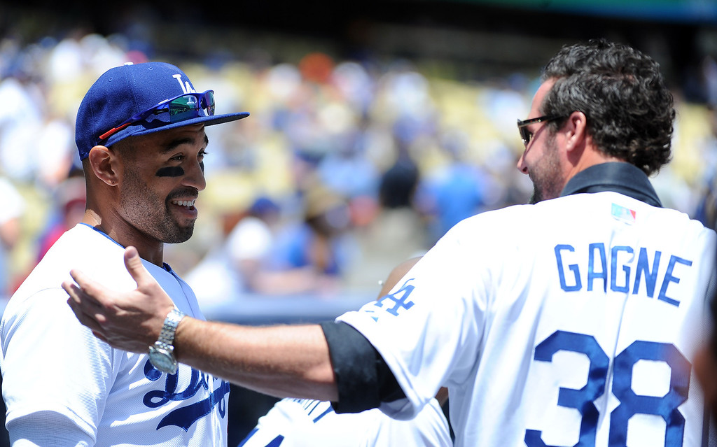 . Former Dodger greats Eric Gagne, right, with Matt Kemp prior to a Major league baseball game against the San Francisco Giants on Saturday, May10, 2013 in Los Angeles.   (Keith Birmingham/Pasadena Star-News)
