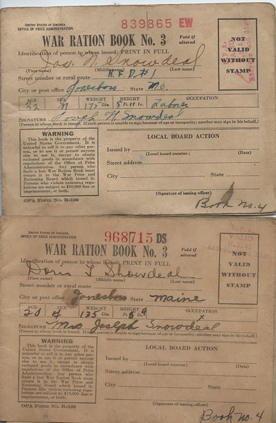 War Ration Books for Joseph Doris and Jackson Snowdeal, the back cover proves to be interesting reading.