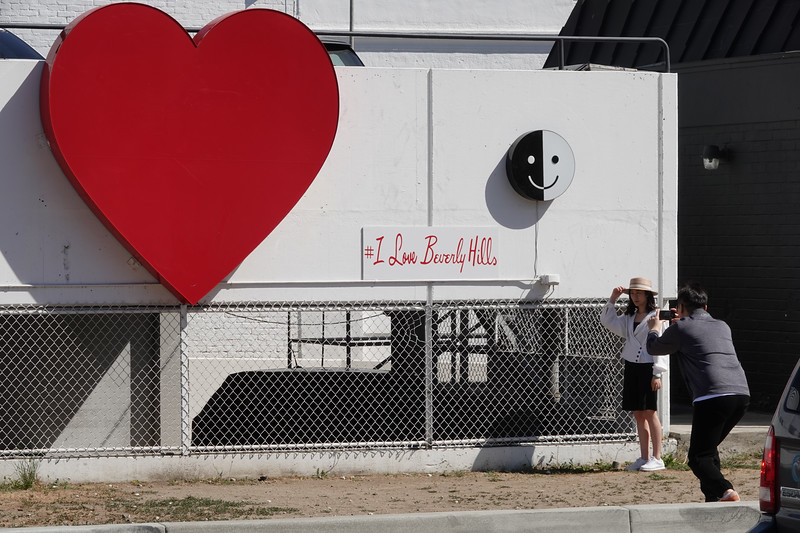 Posing by the #ILoveBeverlyHills sign.