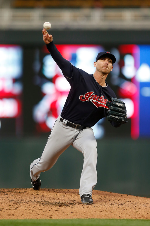 . Cleveland Indians pitcher Josh Tomlin throws against the Minnesota Twins in the first inning of a baseball game Tuesday, April 18, 2017, in Minneapolis. (AP Photo/Jim Mone)