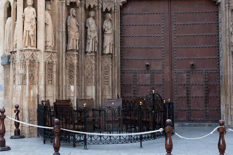Seats of the Tribunal de las Aguas - Water Court - Valencia, Spain