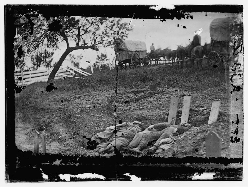 . Gettysburg, Pennsylvania. Unfinished Confederate graves near the center of the battlefield  - Library of Congress Prints and Photographs Division Washington, D.C.