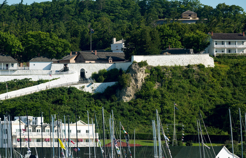 Fort Mackinac rises above the harbor.